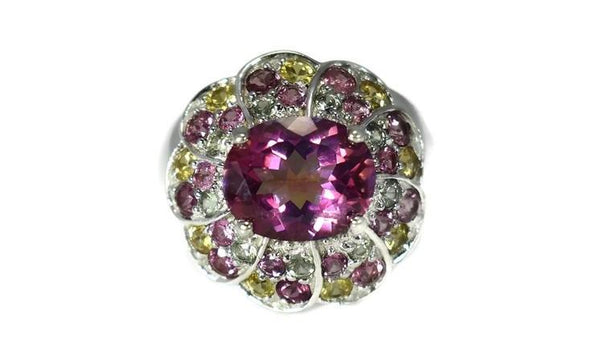 Pink Tourmaline Multi Gem Cocktail Ring in Sterling Silver - Premier Estate Gallery 2