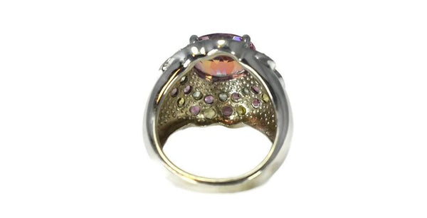 Pink Tourmaline Multi Gemstone Cocktail Ring in Sterling Silver