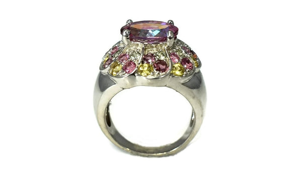Pink Tourmaline Multi Gem Cocktail Ring in Sterling Silver - Premier Estate Gallery 3