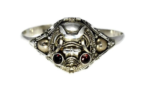 Vintage Sterling Silver Poison Bracelet Garnet Scarab Secret Compartment - Premier Estate Gallery