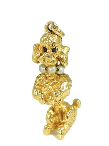 1950s Poodle Pendant Solid 14k Gold 13.8g