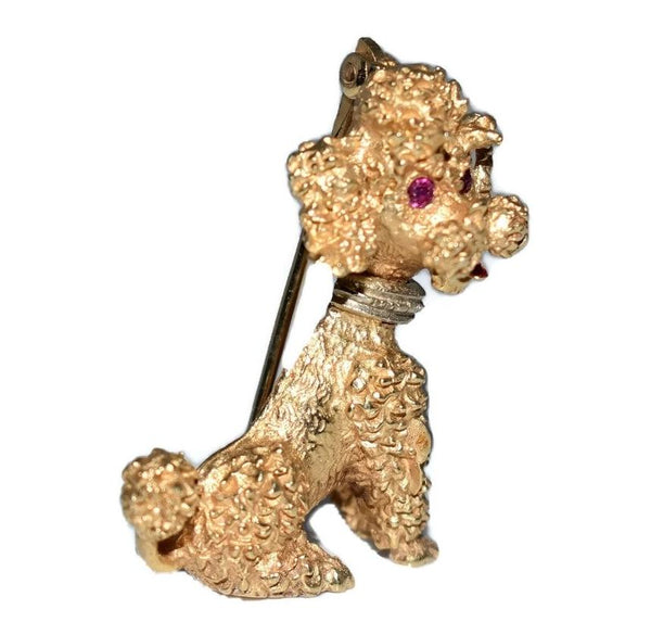 Estate 14k Gold Poodle Brooch Ruby Eyes c1960 - Premier Estate Gallery 2