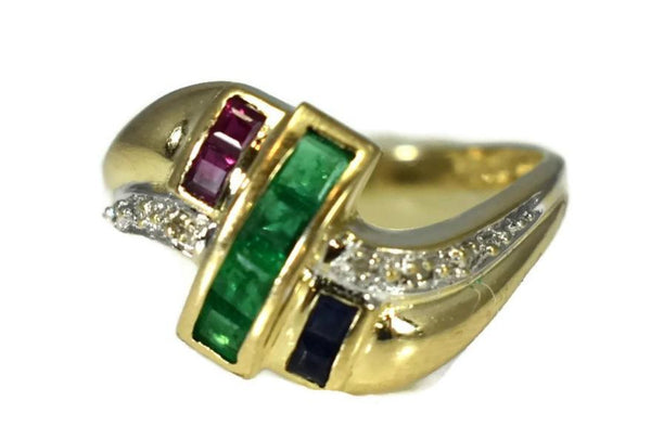 14k Emerald Sapphire Ruby and Diamond Ring Yellow Gold Setting Vintage - Premier Estate Gallery 1