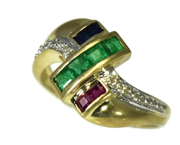 14k Emerald Sapphire Ruby and Diamond Ring Yellow Gold Setting Vintage - Premier Estate Gallery 2