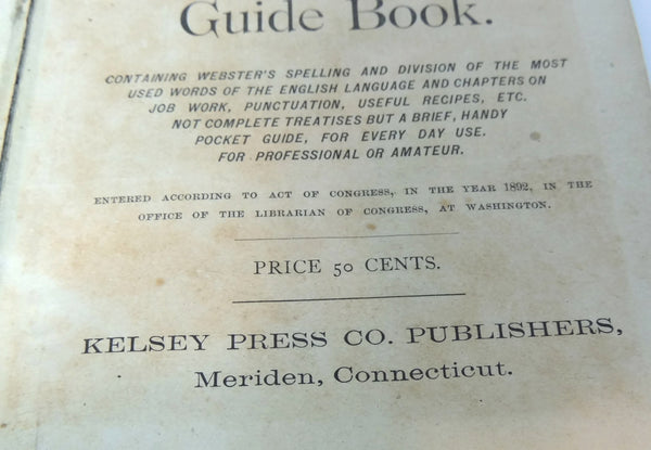 Antique Printers' Dictionary Guide Book 1892 Kelsey Press - Premier Estate Gallery  - 5
