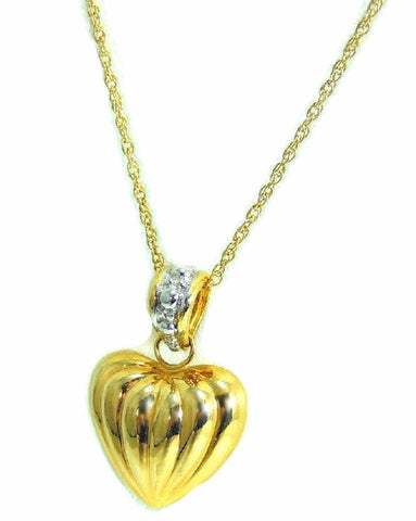 14k Heart Charm Necklace Contemporary Vintage Puffy Gold Heart - Premier Estate Gallery  - 1