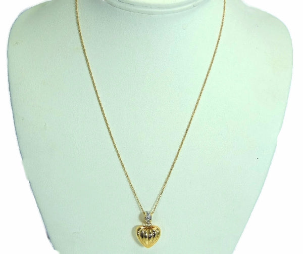 14k Heart Charm Necklace Contemporary Vintage Puffy Gold Heart - Premier Estate Gallery  - 4
