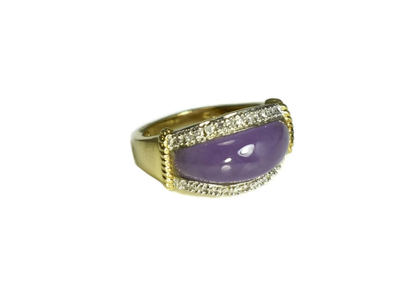 Estate 14k Purple Jade Ring Diamond Accents