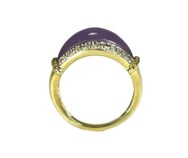 Estate 14k Purple Jade Ring Diamond Accents - Premier Estate Gallery 3