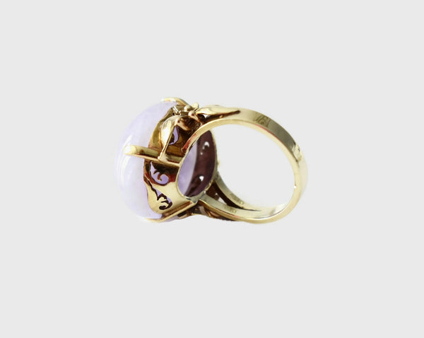 14k Gold Purple Jadeite Ring Ornate Heavy Solid Gold Setting Vintage