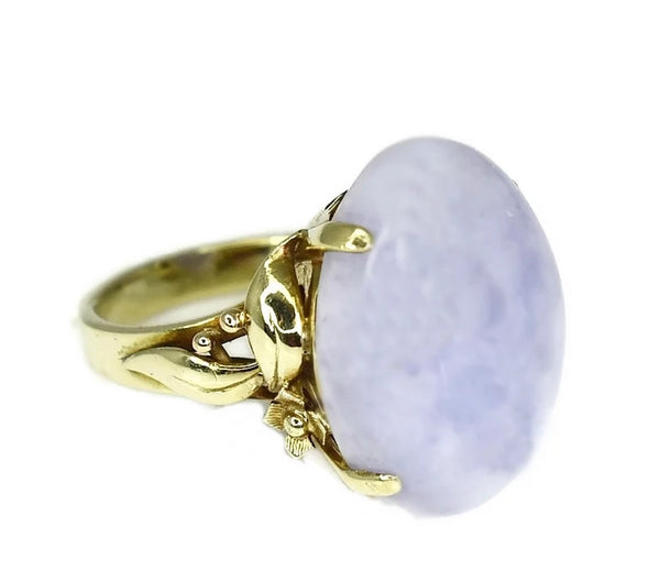14k Gold Purple Jadeite Ring Ornate - Premier Estate Gallery 4