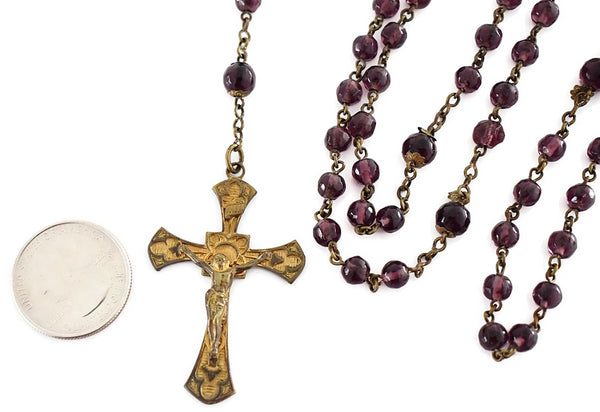 Antique Amethyst Glass Rosary Beads Gilt Cross - Premier Estate Gallery 2
