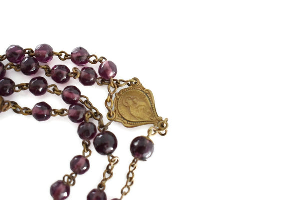 Antique Amethyst Glass Rosary Beads Gilt Cross