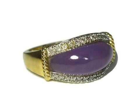 Estate 14k Purple Jade Ring Diamond Accents - Premier Estate Gallery