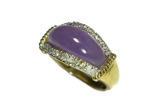 Estate 14k Purple Jade Ring Diamond Accents - Premier Estate Gallery 2