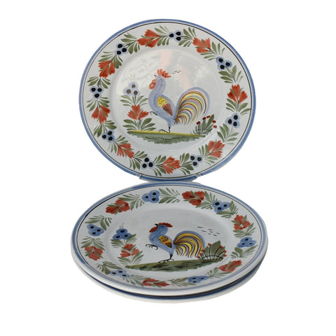 French Faience Henriot Quimper Le Coq Breton Rooster Plates Set of 3 - Premier Estate Gallery