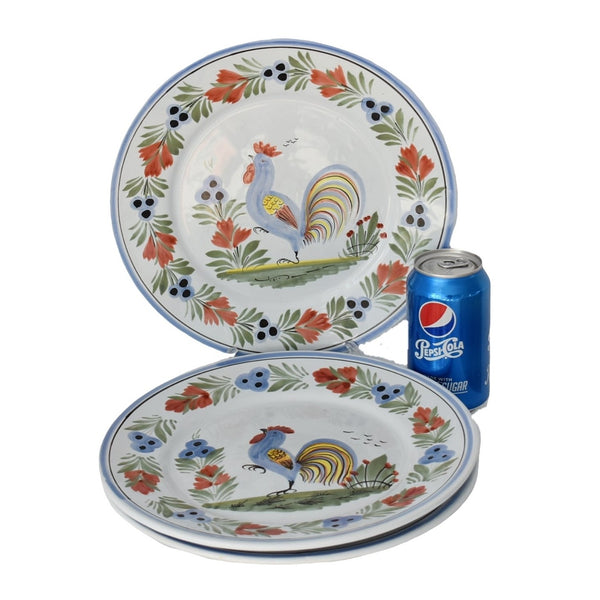 French Faience Henriot Quimper Le Coq Breton Rooster Plates Set of 3