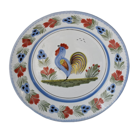 Faience Quimper Le Coq Breton Rooster Serving Plate Hand Painted Artist Signed - Premier Estate Gallery