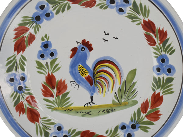 Farmhouse Decor Quimper Rooster Dessert Plates Hand Painted France Artist Signed