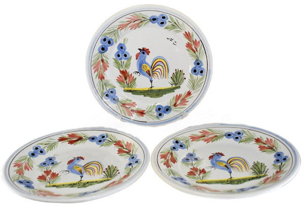 Quimper Rooster Dessert Plates X3 Hand Painted Faience Pottery - Premier Estate Gallery