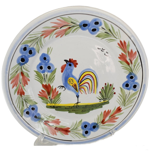 Quimper Rooster Dessert Plates X3 Hand Painted Faience Pottery - Premier Estate Gallery  1
