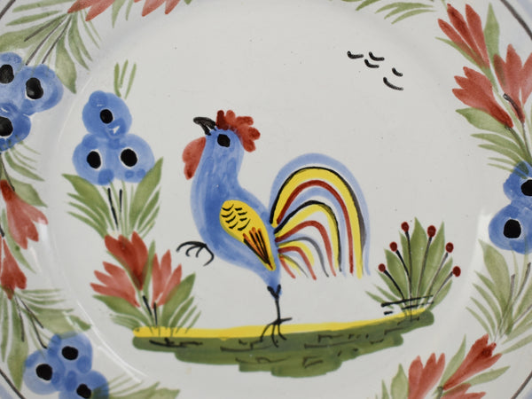 Quimper Rooster Dessert Plates X3 Hand Painted Faience Pottery