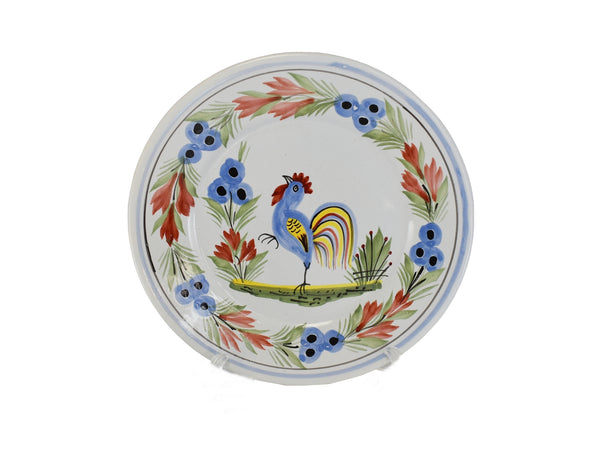 Quimper Rooster Dessert Plates X3 Hand Painted Faience Pottery - Premier Estate Gallery  2