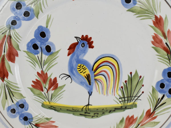Quimper Rooster Dessert Plates X3 Hand Painted Faience Pottery - Premier Estate Gallery  3