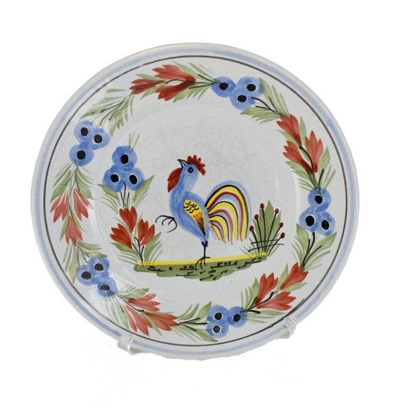 Quimper Rooster Dessert Plates X3 Hand Painted Faience Pottery - Premier Estate Gallery  4