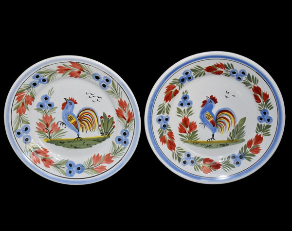 Farmhouse Decor Quimper Rooster Dessert Plates Hand Painted France Artist Signed - Premier Estate Gallery