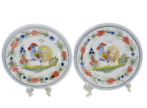 Farmhouse Decor Quimper Rooster Plates Le Coq Breton - Premier Estate Gallery