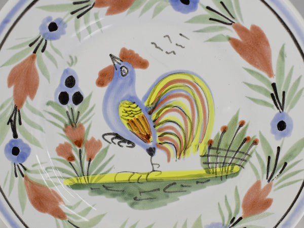 Farmhouse Decor Quimper Rooster Plates Le Coq Breton 6.5 in X2