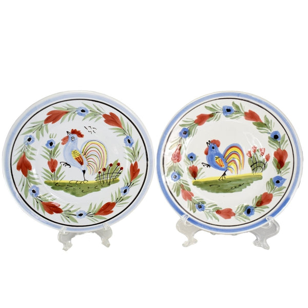 Vintage Quimper Faience Rooster Plates X2 Artist Signed  - Premier Estate Gallery
