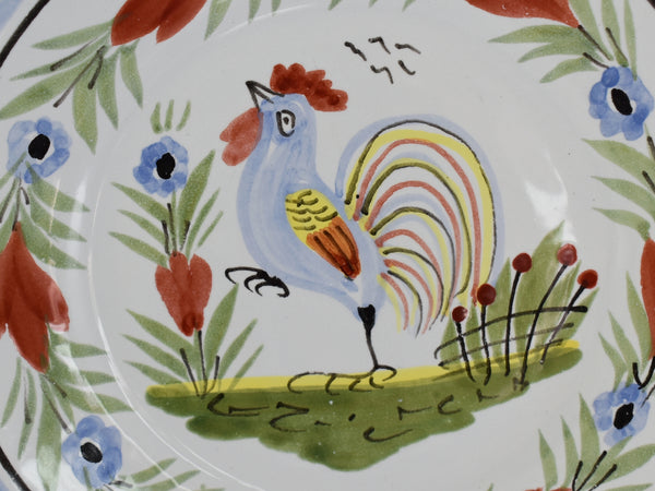 Vintage Quimper Faience Rooster Plates X2 Artist Signed