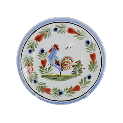 Quimper Hand Painted Rooster Bread Plate Artist Signed France - Premier Estate Gallery