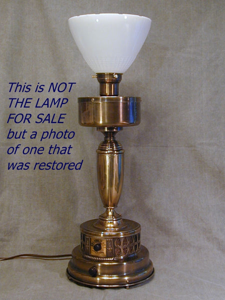 Vintage Brass Radio Table Lamp c1930s, Working Radio Lamp Needs TLC