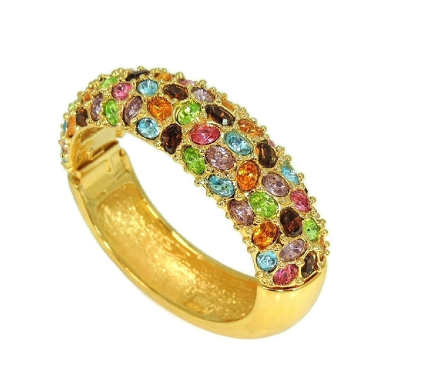 KJL Rhinestone Clamper Bracelet Rainbow Gem Colors