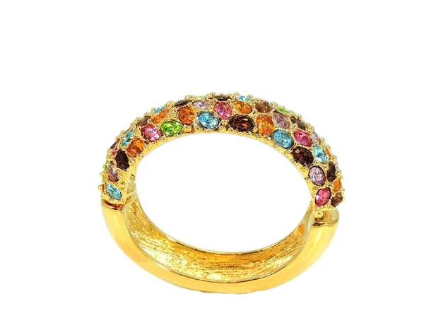 Kenneth Lane Rhinestone Clamper Bracelet in Rainbow Gem Colors - Premier Estate Gallery  - 2