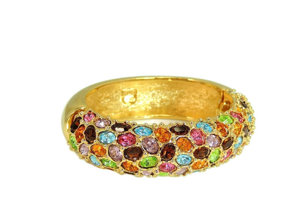 Kenneth Lane Rhinestone Clamper Bracelet in Rainbow Gem Colors - Premier Estate Gallery  - 3