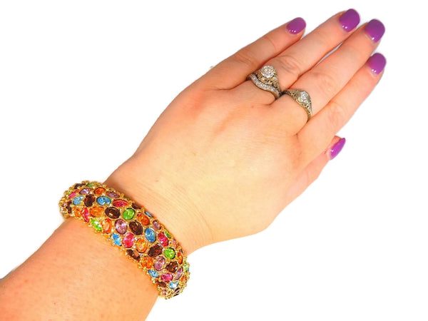 Kenneth Lane Rhinestone Clamper Bracelet in Rainbow Gem Colors - Premier Estate Gallery  - 6