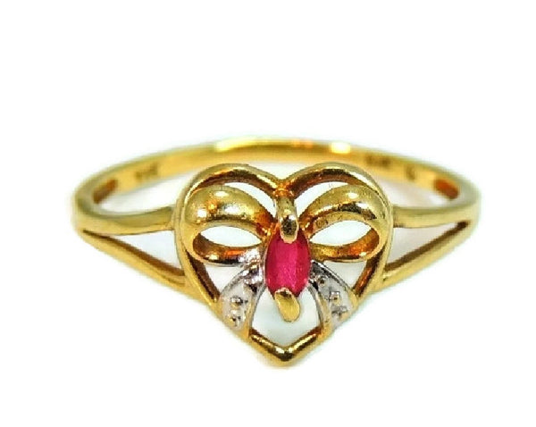 10k Ruby Heart Ring, Promise Ring, Granddaughter Gift, Gemstone Jewelry - Premier Estate Gallery  - 2