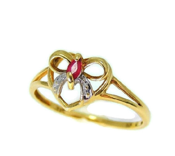 10k Ruby Heart Ring, Promise Ring, Granddaughter Gift, Gemstone Jewelry - Premier Estate Gallery  - 3