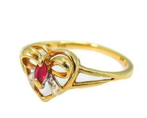 10k Ruby Heart Ring, Promise Ring, Granddaughter Gift, Gemstone Jewelry - Premier Estate Gallery  - 1