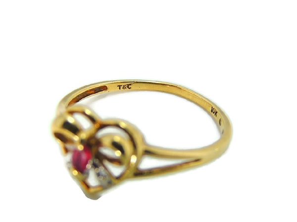 10k Ruby Heart Ring, Promise Ring, Granddaughter Gift, Gemstone Jewelry - Premier Estate Gallery  - 4