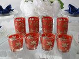 Vintage Red Gold Libbey Gold Tapestry Highball Lowball Glasses Set of 8 - Premier Estate Gallery