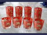 Vintage Red Gold Libbey Gold Tapestry Highball Lowball Glasses Set of 8 - Premier Estate Gallery  1