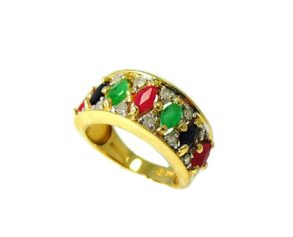 14k Gemstone Ring Anniversary Band Emerald Ruby Sapphire Diamonds Gold - Premier Estate Gallery  - 2