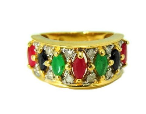 14k Gemstone Ring Anniversary Band Emerald Ruby Sapphire Diamonds Gold - Premier Estate Gallery  - 1