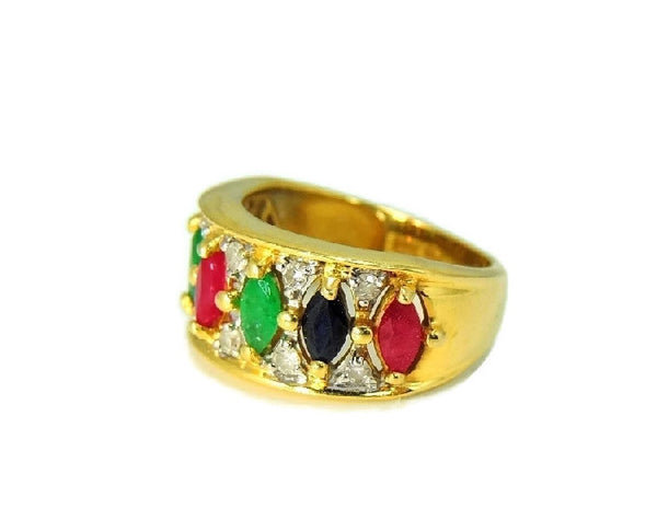 14k Gemstone Ring Anniversary Band Emerald Ruby Sapphire Diamonds Gold - Premier Estate Gallery  - 3