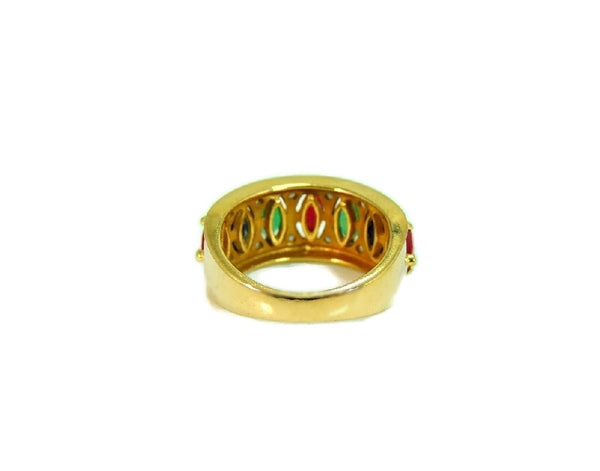 14k Gemstone Ring Anniversary Band Emerald Ruby Sapphire Diamonds Gold - Premier Estate Gallery  - 4